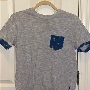 Size Small Gray/Blue Hawaiian Pocket Shirt